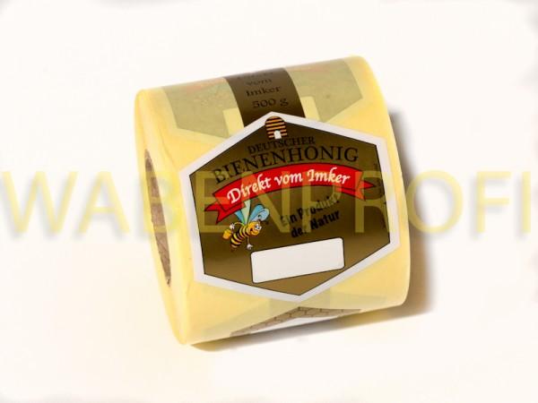 Honigglas Stegetikett Rolle 500g